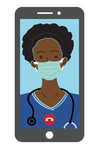 health worker wears protective mask during telemedicine appointment