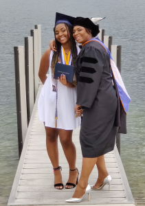 Dr. Manning and her daughter celebrating their graduations