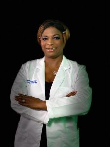 Dr. Manning in her NP white coat
